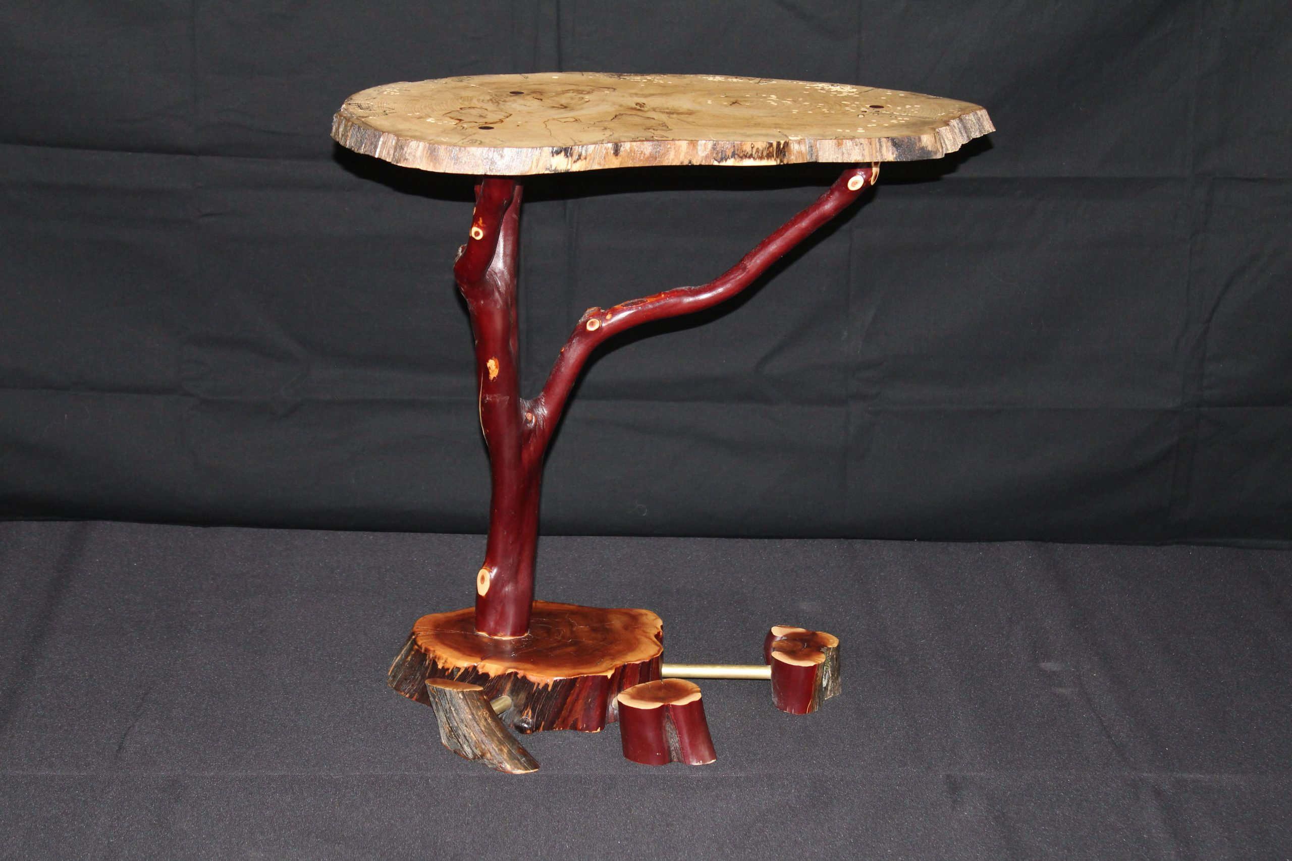 artisan side table with manzanita wood base and stone top